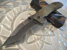 Mtech Xtreme Ballistic Black Wash Assisted Desert G10 Tanto Pocket Knife A822