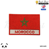 MOROCCO National Flag With Name Embroidered Iron On Sew On Patch Badge