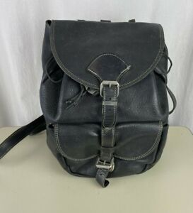 Vintage ROOTS CANADA HIGH QUALITY LEATHER BACKPACK Black Large Bag
