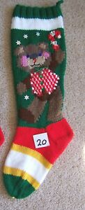 NANCY'S HAND KNIT PERSONALIZED CHRISTMAS STOCKINGS SOCKS - BEAR IN VEST