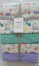 Carters Cotton Baby Blankets Owls Squirrels Moon Aqua Purple Pink 4 Pack