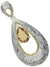 Citrine Gemstone Pear 18ct Yellow Gold Plated and Sterling Silver Pendant