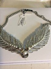 $295 Givenchy Imitation Pearl And Crystal Feathery Wing Drama Necklace 210B