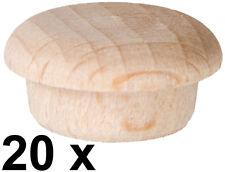 20 x Abdeckkappe Kappe aus Buchenholz unlackiert Stift 13,9/14,3 mm Kopf 18 mm