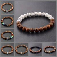 8MM Wooden Beaded Crown Buddha Lion Beaded Bracelet Jewelry Stretch Bangle New