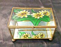 GLASS & BRASS MIRRORED VINTAGE TRINKET JEWELRY BOX w/ PAINTED YELLOW FLOWERS