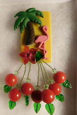 ARTIST HANDMADE VINTAGE Game CHIP LUCITE PINK FLAMINGO RED CHERRY PIN Brooch NEW
