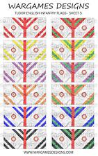 Bandiere 10 mm-FANTERIA INGLESE TUDOR-FOGLIO 5-LUCCIO & SHOTTE, Barocco, DBR