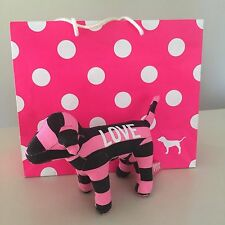 "VICTORIA'S SECRET PINK-COLLECTIBLE Striped ""LOVE"" Plush Dog , Used for Display!!"