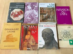 lot 8 livres Grammaire, exercices, versions, méthodes Latin - collège Lycée