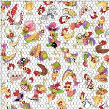 Loralie Harris Chicken Rooster Toss White Cotton Fabric Chicken Chique - YARD