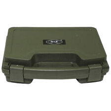 Small Single Army Pistol Gun Carry Hand Case Lockable Padded Plastic Olive Green
