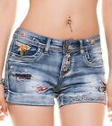 SHORT EN JEANS COURT FEMME SEXY A FLEURS STRASS FASHION SIXTIES T.34 36 38 ou 40