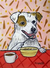 jack russell terrier cereal painting pet dog 13x19 Glossy Print