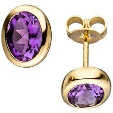 Paar Ohrstecker Ohrschmuck Amethyst violett lila oval 585 Gold Gelbgold