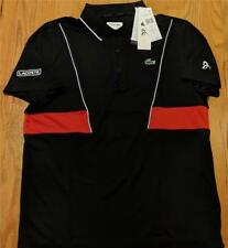 Mens Authentic Lacoste Sport Novak Djokovic Polo Shirt Black/Red 8 3XL $110