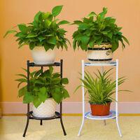 2 TIER Metal Shelves Flower Pot Plant Stand Display Indoor Outdoor Garden