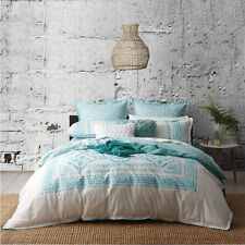 Logan and Mason MEANDROS TEAL King Size Bed Doona Duvet Quilt Cover Set NEW