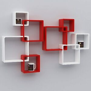 Unique Decorative Set Of 6 Intersecting''Whi&Red ''Wall Mount Shelf, Home Decor