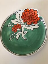 ONE Anthropologie Peony Plate Molly Hatch Side App Salad Green Red Hand Painted