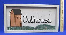 Outhouse Sign Wood Wooden Hand Painted Country Rustic Wall Hanging Indoor