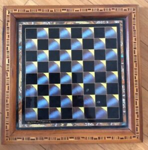 CHESSBOARD CHECKER BOARD BRAZIL Blue Morpho BUTTERFLY WINGS 1960s Wood Inlay