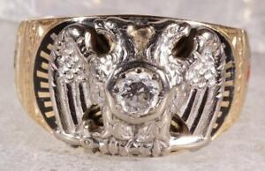 Vintage Men's Double Eagle .36 CT Diamond Masonic Ring 14K 12.5 grams Size 12