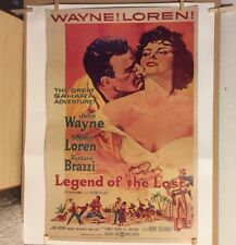 1957 LEGEND OF THE LOST Vintage Movie Poster Original WAYNE LOREN 57/605 LITHO