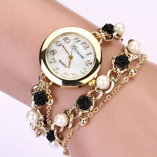 Geneva watches Women Faux Pearl Flower Chain Bracelet Dial Quartz Wrist Watch US