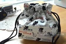 "San-X KutusitaNyanko Black Cat ""Piano Series"" Lunch Box Bento Bag Drawstring Bag"