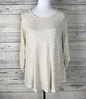 Alya Women's Tan Cream Striped Lace Back Ruched 3/4 Sleeve Tunic Knit Top Size L
