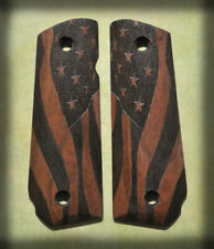 Full Size 1911 Bobtail Grips American Flag dark walnut Usa Beautiful