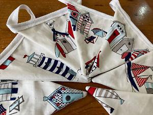 Handmade In Nautical Themed Fabric. Boats/ Beach Hut/ Lighthouse