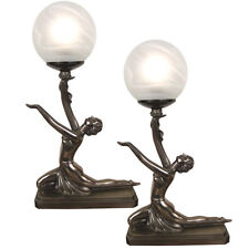 PAIR/TABLE LAMPS ART DECO/NOUVEAU KNEELING BALL GIRL FIGURINES GLASS SHADE +BULB