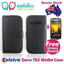 Black PU Leather Wallet Case Cover Screen Protector for Telstra Dave 4g T83