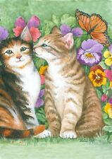 New listing New Toland House Flag Kissing Kitties Tabby Cats Pansies Butterfly 28 X 40