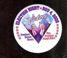 2008 pinback V VICTORY Obama + BIDEN Election Night PIN