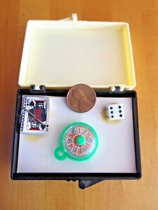 """Gambler's Gag Gift """"For Those That Gamble A Little"""" Cards Dice Roulette Mini Box"""