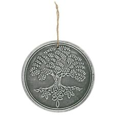 Tree Of Life Plaque, Terracotta Garden Wall Hanging, Silver Effect, 20cm