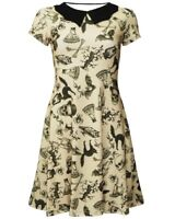 Steampunk Skulls, Owl, Bats, Cats, Spiders Vintage Halloween Bat Collar Dress