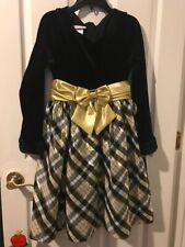 NWT girls BONNIE JEAN Black, gold DRESS  Sz 12 $68 Tag