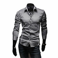 Mens Slim Fit Shirts Long Sleeve Luxury Formal Casual Designer Dress Shirt Tops
