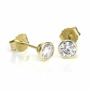 9ct Gold & 4mm Round Clear CZ Crystal Rubover Stud Earrings Studs Circles