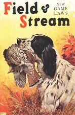 Vintage art Field & Stream Ad Lynn Bogue Hunt Springer with Grouse