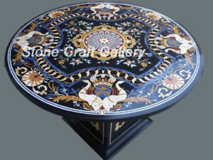 """36"""" Marble Center Coffee Table Top Pietra Dura Inlay With Marble Stand"""