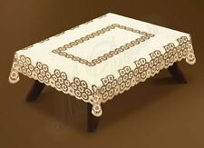 "Rectangular large lace linen/beige tablecloth 250x140cm (98""x55"") elegant gift"