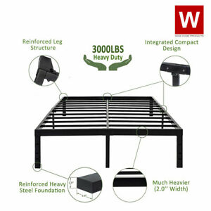 Heavy Duty Steel Platform Bed Frame - Metal Bed Frame with Storage - Height 14""