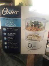 OSTER DOUBLE TIERED FOOD STEAMER COOKER 5 QT WHITE 2 STEAM BOWLS ELECTRIC POT