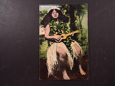 Postcard USA Hawaii Hawaiian Islands Hula Girl With Ukelele Hula Dancer Honolulu