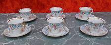 Porcelaine de Limoges Six tasses et sous-tasses style Louis Philippe @